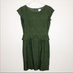 Anthropologie Weston wear green lace peplum dress